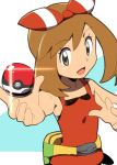 1girl arm_up bag bare_shoulders brown_eyes brown_hair eyebrows_visible_through_hair fanny_pack female hairband hand_up happy haruka_(pokemon) haruka_(pokemon_oras) holding holding_poke_ball natsunagi_takaki open_mouth outstretched_arm poke_ball poke_ball_(generic) pokemon pokemon_(game) pokemon_oras red_hairband red_shirt shiny shirt simple_background sleeveless sleeveless_shirt smile solo two-tone_background