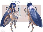 2018 antennae anthro arthropod blue_eyes blue_hair braided_hair breasts cockroach exoskeleton eyelashes eyeliner featureless_breasts female hair hair_tie insect long_hair makeup model_sheet non-mammal_breasts nude smile solo vera_(artist) wings
