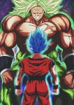 2boys blue_hair broly clenched_hands derivative_work dougi dragon_ball dragon_ball_super dragonball_z evil_grin evil_smile facing_away green_hair grin height_difference highres male_focus multiple_boys muscle no_pupils scar shirtless short_hair smile son_gokuu spiked_hair star starry_background super_saiyan_blue teeth wallpaper wristband