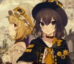2girls absurdres adapted_costume alternate_costume ascot bare_shoulders belt_collar black_capelet black_hat blonde_hair bow breasts brown_collar brown_eyes brown_hair capelet collar collarbone commentary_request daimaou_ruaeru detached_collar eyebrows_visible_through_hair fedora frills from_side gears goggles goggles_on_headwear hair_between_eyes hair_bow hat highres key lips looking_at_viewer maribel_hearn medium_breasts mob_cap multicolored_hair multiple_girls off-shoulder_shirt off_shoulder profile purple_bow purple_eyes red_ribbon ribbon shirt short_hair smile streaked_hair touhou upper_body usami_renko white_hat white_shirt yellow_bow yellow_neckwear