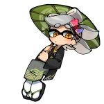 +_+ 1girl closed_mouth domino_mask earrings full_body geta green_umbrella grey_kimono hair_ornament hair_rings holding holding_umbrella hotaru_(splatoon) japanese_clothes jewelry kimono lkll long_sleeves looking_at_viewer mask mole mole_under_eye no_nose orange_eyes oriental_umbrella pointy_ears short_hair silver_hair simple_background solo splatoon splatoon_2 symbol-shaped_pupils tabi tentacle_hair umbrella white_background white_legwear
