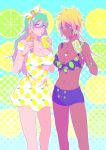 bad_id bad_pixiv_id bikini_shorts bleach blonde_hair blue_eyes bracelet breasts brown_eyes cleavage collarbone cup dark_skin dress drinking drinking_straw earrings facial_mark food food_themed_earrings green_hair green_nails hairband ice_cream_cone jewelry large_breasts lemon_earrings lemon_print lime_earrings lime_print long_hair looking_at_another looking_at_viewer multiple_girls nail_polish necklace nelliel_tu_odelschwanck popsicle ronisuke short_dress shorts tier_harribel yellow_nails