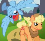 2018 applejack_(mlp) blonde_hair competition cowboy_hat crossgender cutie_mark deadxqueen earth_pony equine flying freckles friendship_is_magic hair hat horse male mammal multicolored_hair my_little_pony pegasus pony race rainbow_dash_(mlp) rainbow_hair running smile smirk upside_down wings
