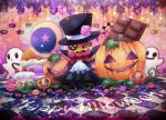 bow button_eyes cake candy candy_cane chocolate chocolate_bar commentary_request cookie food fruit ghost half-closed_eye halloween happy_halloween hat hat_ornament jack-o'-lantern kirby's_epic_yarn kirby_(series) kurosiro leaf magician no_humans plant pumpkin red_bow red_neckwear squashini strawberry tile_floor tiles top_hat typo vines watermark