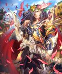 1boy armor arrow bird blue_sky bow_(weapon) brown_eyes building cape day fantasy feathers frown hair_feathers hair_ornament hair_over_one_eye highres holding_bow kazto_furuya knife long_hair looking_at_viewer male_focus official_art outdoors pink_feathers quiver red_cape sheath sheathed shingoku_no_valhalla_gate shoulder_spikes sky solo spikes standing tree watermark weapon