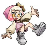 +_+ 1girl :d crown domino_mask full_body gradient_hair hime_(splatoon) hood hood_up hoodie lkll long_sleeves looking_at_viewer mask medallion mole mole_under_mouth multicolored_hair no_nose open_mouth pink_hair raglan_sleeves shoes short_hair simple_background smile sneakers solo splatoon splatoon_2 splatoon_2:_octo_expansion symbol-shaped_pupils tentacle_hair two-tone_hair white_background white_hair yellow_eyes
