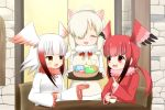 3girls :d alpaca_suri_(kemono_friends) bangs black_hair blush brown_eyes chair commentary_request cup eye_contact eyebrows_visible_through_hair eyes_closed facing_viewer food frilled_sleeves frills gloves gradient_hair grey_hair hair_over_one_eye head_wings holding holding_cup holding_tray index_finger_raised jacket japanese_crested_ibis_(kemono_friends) japari_bun japari_symbol kemono_friends light_brown_hair long_hair long_sleeves looking_at_another multicolored_hair multiple_girls open_mouth red_eyes red_gloves red_hair red_jacket red_wings scarlet_ibis_(kemono_friends) shin01571 smile table teacup tray v-shaped_eyebrows white_jacket white_wings wide_sleeves wings