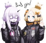 2girls abigail_williams_(fate/grand_order) abigail_williams_(fate/grand_order)_(cosplay) alternate_hairstyle bags_under_eyes bangs black_bow black_jacket blonde_hair blue_eyes blush bow closed_mouth cosplay crossed_bandaids english fate/grand_order fate_(series) hair_between_eyes hair_bow hair_bun hand_up horn jacket lavinia_whateley_(fate/grand_order) long_hair long_sleeves middle_finger multiple_girls object_hug orange_bow parted_bangs polka_dot polka_dot_bow purple_eyes silver_hair simple_background sleeves_past_wrists stuffed_animal stuffed_toy teddy_bear tongue tongue_out umineco white_background wide-eyed