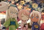 6+girls :< :d aerial_fireworks back_bow balloon bangs blonde_hair blue_bow blue_eyes blue_kimono blush_stickers bow brown_hair closed_mouth coin_purse commentary_request diving_mask_on_head engiyoshi eyebrows_visible_through_hair eyes_closed facing_viewer failure_penguin fireworks floral_print flower food garrison_cap green_kimono grey_eyes grey_hat hair_between_eyes hair_flower hair_ornament hat holding holding_balloon i-168_(kantai_collection) i-401_(kantai_collection) i-58_(kantai_collection) japanese_clothes kantai_collection kimono lantern long_hair long_sleeves looking_at_another maru-yu_(kantai_collection) miss_cloud multiple_girls night night_sky obi open_mouth outdoors paper_lantern pink_flower pink_hair pink_kimono print_kimono red_hair ro-500_(kantai_collection) sash sky smile stall star_(sky) starry_sky u-511_(kantai_collection) white_kimono wide_sleeves