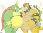 angry anthro bellies_touching belly big_belly bowser canson claws crocodilian crossover crown donkey_kong_(series) duo eye_contact hair horn king_k_rool koopa male mario_bros musclegut muscular muscular_male navel nintendo overweight overweight_male red_hair reptile scalie shell spikes video_games