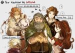 2girls 3boys animal bare_shoulders beard blonde_hair bracelet braid braided_ponytail brown_hair cyrus_(octopath_traveler) dancer facial_hair fur_trim gameplay_mechanics gloves green_eyes gzei h'aanit_(octopath_traveler) hair_over_one_eye jewelry linde_(octopath_traveler) long_hair multiple_boys multiple_girls necklace octopath_traveler old_man open_mouth ponytail primrose_azelhart scarf short_hair simple_background single_braid smile snow_leopard therion_(octopath_traveler) white_hair