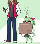 blush box female holding_object human kirlia larger_male limebreaker male mammal nintendo pokémon pokémon_(species) size_difference smaller_female video_games