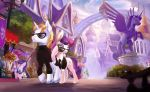 2018 absurd_res amazing_background blonde_hair blue_eyes bonbon_(mlp) building castle city clothed clothing cloud cutie_mark detailed_background devinian duo_focus earth_pony equine eyebrows eyelashes eyewear fan_character female feral flower friendship_is_magic group hair hi_res hooves horn horse male mammal midnight_emissary multicolored_hair my_little_pony necktie outside plant pony purple_hair scenery scenery_porn sculpture sky spy statue street_lamp suit sunglasses teeth turtleneck twilight_velvet_(mlp) two_tone_hair unicorn walking