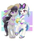 2018 ball bbtasu beach_ball bikini black_hair blue_hair blush breasts clothed clothing cute cutie_mark duo earth_pony equine eyelashes eyewear female flip_flops footwear friendship_is_magic gradient_background hair hair_tie hat holding_object hooves horse long_hair mammal multicolored_hair musical_note my_little_pony navel octavia_(mlp) one_eye_closed open_mouth open_smile pony portrait purple_eyes semi-anthro shoes short_hair signature simple_background smile standing sun_hat sunglasses swimsuit teeth tongue two_tone_hair vinyl_scratch_(mlp) wink wristband