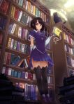 1girl absurdres black_cat black_hair black_legwear book book_stack bookshelf breasts cat gloves highres key leaning_back leaning_on_object library looking_at_viewer medium_breasts okuto original pleated_skirt red_eyes short_hair skirt smile solo thighhighs