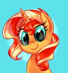 2018 blonde_hair blue_background bust_portrait cute equestria_girls equine eyelashes female feral hair hi_res horn looking_at_viewer mammal multicolored_hair my_little_pony portrait red_hair simple_background smile solo sunset_shimmer_(eg) teal_eyes two_tone_hair unicorn whitediamonds