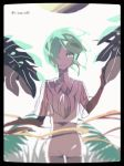 1other alternate_costume androgynous black_border border golden_arms green_eyes green_hair hair_over_one_eye houseki_no_kuni kawa_(ricopin35) leaf light_smile looking_at_viewer necktie phosphophyllite plant see-through short_hair spoilers