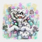 4_fingers 4_toes animal_genitalia anthro balls blush canine cub dakkawolf fangs fur male mammal marshmallow navel nude open_mouth pawpads paws penis sheath spread_legs spreading toes white_fur young