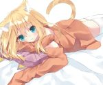1girl :t animal_ears aqua_eyes bangs bare_shoulders bed_sheet blonde_hair blush cat_ears cat_girl cat_tail closed_mouth commentary_request eyebrows_visible_through_hair hair_between_eyes hamaru_(s5625t) head_tilt long_hair long_sleeves looking_at_viewer lying off_shoulder on_stomach orange_shirt original pillow pout shirt sleeves_past_fingers sleeves_past_wrists solo tail tail_raised thighhighs white_legwear