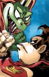 2boys bloodshot_eyes blue_background cape clenched_hand cosmicam crocodile crocodilian crown donkey_kong donkey_kong_(series) donkey_kong_country evil_smile eye_contact fangs gorilla highres jojo_no_kimyou_na_bouken king_k._rool looking_at_another multiple_boys necktie parody red_cape simple_background sketch smile stardust_crusaders style_parody super_smash_bros. super_smash_bros_ultimate