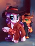 2017 alley applejack_(mlp) blonde_hair blue_eyes clothed clothing coat detective duo earth_pony equine eyebrows eyelashes eyeshadow female feral flask freckles friendship_is_magic frown green_eyes hair hat holding_object hooves horn horse looking_at_viewer makeup mammal mascara my_little_pony necktie open_mouth outside pony purple_hair raised_leg rarity_(mlp) signature tongue underhoof unicorn whitediamonds