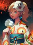 1girl bellhenge blonde_hair blooper blue_eyes boo commentary english_commentary fan festival fire_flower floral_print flower japanese_clothes kimono long_hair looking_at_viewer mario_(series) mask obi ponytail princess_peach sash smile solo standing super_mario_bros. super_mario_odyssey