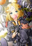 1girl abigail_williams_(fate/grand_order) balloon bangs black_bow black_jacket blonde_hair blue_eyes blush bow bubble_blowing caution_tape chains chewing_gum commentary_request crossed_bandaids dutch_angle eyebrows_visible_through_hair fate/grand_order fate_(series) fingernails graffiti h_shai hair_bow hair_bun holding holding_balloon jacket keep_out key long_hair long_sleeves looking_at_viewer object_hug orange_bow parted_bangs partially_unzipped pointing pointing_at_viewer polka_dot polka_dot_bow sleeves_past_fingers sleeves_past_wrists solo star stuffed_animal stuffed_toy teddy_bear tentacle zipper