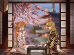 2girls alternate_hairstyle blonde_hair blush building clouds couple cup drinking embarrassed eyes_closed fate_testarossa japanese_clothes kimono kneeling long_hair lyrical_nanoha mahou_shoujo_lyrical_nanoha multiple_girls nervous orange_hair table takamachi_nanoha trees very_long_hair yuri