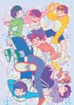 6+boys ahoge antenna_hair arms_behind_head bright_pupils denim eyes_closed floating hood hoodie jeans ken_(shiyu) kicking looking_at_viewer matsuno_choromatsu matsuno_ichimatsu matsuno_juushimatsu matsuno_karamatsu matsuno_osomatsu matsuno_todomatsu multiple_boys open_mouth osomatsu-kun osomatsu-san pants raglan_sleeves red_footwear sextuplets shorts single_vertical_stripe smile socks star star-shaped_pupils symbol-shaped_pupils
