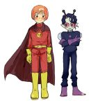 2boys anpanman anpanman_(character) antennae baikinman black_hair blue_skin bob_cut boots gloves gradient_hair ken_(shiyu) looking_at_another male_focus multicolored_hair multiple_boys personification pointy_ears purple_footwear purple_gloves sharp_teeth sunglasses superhero teeth wings yellow_footwear yellow_gloves