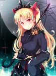 1girl bangs black_coat black_umbrella blonde_hair blush commentary_request ereshkigal_(fate/grand_order) fate/grand_order fate_(series) hair_ribbon hinooka_shuuji long_hair looking_at_viewer parted_bangs rain red_eyes red_ribbon ribbon skull smile solo tiara two_side_up umbrella