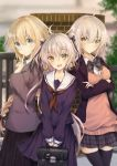 3girls :d absurdres ahoge alternate_costume black_legwear black_serafuku blazer blonde_hair blue_eyes blurry blush braid closed_mouth collared_shirt commentary_request contemporary cowboy_shot depth_of_field eyebrows_visible_through_hair fate/grand_order fate_(series) hair_between_eyes hair_ornament hair_ribbon highres jacket jeanne_d'arc_(alter)_(fate) jeanne_d'arc_(fate) jeanne_d'arc_(fate)_(all) jeanne_d'arc_alter_santa_lily long_braid looking_at_viewer multiple_girls open_clothes open_jacket open_mouth plaid plaid_skirt pleated_skirt ribbon sailor_collar school_uniform serafuku shirt silver_hair single_braid skirt smile two_side_up uzuki_tsukuyo yellow_eyes