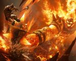 1boy armor fire hammer horns lava ragnaros warcraft weapon world_of_warcraft