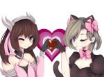 2girls ;) animal_ears bad_anatomy black_cat_d.va black_gloves blue_eyes blush bow brown_hair cat_ears crossover d.va_(overwatch) devo4ka dress fake_animal_ears flat_chest gloves green_eyes head_wings heart looking_at_viewer mechanical_halo mercy_(overwatch) mikanskii multiple_girls one_eye_closed original overwatch pink_bow pink_dress pink_mercy puffy_short_sleeves puffy_sleeves short_sleeves simple_background smile twintails white_background wink