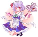 1girl alternate_costume apron bangs bat_wings black_footwear blush bow cosplay cup enmaided eyebrows_visible_through_hair food full_body hair_bow izayoi_sakuya izayoi_sakuya_(cosplay) looking_at_viewer maid maid_headdress mary_janes multicolored multicolored_background off_shoulder open_mouth pudding purple_hair red_bow red_eyes remilia_scarlet sauce shoes short_hair short_sleeves socks solo teacup teapot tori_(10ri) touhou tray two-tone_background waist_apron white_legwear wings