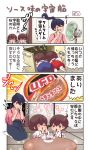 3girls 4koma akagi_(kantai_collection) black_hair brown_eyes brown_hair can comic commentary_request cup_ramen eating electric_fan eyes_closed flying_sweatdrops food hand_on_own_face highres houshou_(kantai_collection) japanese_clothes kaga_(kantai_collection) kantai_collection kimono lens_flare long_hair multiple_girls noodles pako_(pousse-cafe) ponytail short_hair side_ponytail table tasuki translation_request upper_body yakisoba younger