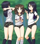 3girls :< black_eyes black_hair black_legwear blurry blurry_background breasts brown_eyes brown_hair buruma camouflage camouflage_trim cellphone closed_mouth collarbone flat_chest gym_shirt half-closed_eyes hand_on_hip holding holding_phone interlocked_fingers kneepits long_hair looking_at_viewer maruput medium_breasts medium_hair multiple_girls original outdoors phone shirt short_sleeves smartphone socks tree two_side_up white_legwear white_shirt