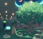 1boy alarm_clock blue_flower book bookshelf brown_hair brown_pants bunny cabinet clock coffee_mug computer crescent_moon cup dappled_sunlight door flower food fruit glowing glowing_screen half-closed_eyes indoors laptop looking_down male_focus moon mug night night_sky original outstretched_arms pants pillow pood1e profile shadow shirt short_hair sign sitting sky stairs star star_(sky) starry_sky steam sunlight table tree yellow_shirt