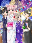 2boys 2girls aerial_fireworks alternate_costume bag bagged_fish bangs black_hair blue_eyes blush brown_hair candy_apple cotton_candy couple darling_in_the_franxx double_bun eyebrows_visible_through_hair festival fireworks fish flower_clothes food genista_(darling_in_the_franxx) green_eyes grey_kimono hair_ornament hand_holding hand_on_another's_arm hetero high_ponytail hiro_(darling_in_the_franxx) holding holding_food horns japanese_clothes kimono kokoro_(darling_in_the_franxx) lantern lantern_festival light_brown_hair long_hair long_sleeves looking_at_another mask mask_on_head mitsuru_(darling_in_the_franxx) multiple_boys multiple_girls obi oni_horns paper_lantern pink_hair pointing pointing_forward ponytail purple_kimono red_horns sash sharing_food short_hair strelizia striped striped_kimono water_yoyo white_kimono wide_sleeves yukata zero_two_(darling_in_the_franxx)