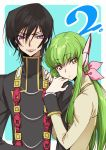 1boy 1girl bangs black_hair black_jacket blue_background bow c.c. closed_mouth code_geass couple creayus eyebrows_visible_through_hair fingernails green_hair hair_between_eyes hair_bow hands_on_another's_shoulder hetero jacket lelouch_lamperouge long_hair long_sleeves looking_at_viewer m parted_lips pink_bow purple_eyes simple_background smile standing yellow_eyes