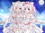 2girls ;d absurdres animal_ears azur_lane bangs blue_eyes bow breasts brown_eyes cat_ears choker cleavage commentary_request detached_collar detached_sleeves dress elbow_gloves eyebrows_visible_through_hair fang flower full_moon garter_straps gloves hair_between_eyes hair_bow hair_flower hair_ornament hammann_(azur_lane) hand_holding hand_up heart highres huge_filesize interlocked_fingers kurashina_yuzuki long_hair looking_at_viewer medium_breasts moon multiple_girls night night_sky one_eye_closed one_side_up open_mouth pink_bow pink_flower pink_rose puffy_short_sleeves puffy_sleeves railing red_ribbon ribbon rose see-through short_sleeves silver_hair skirt_hold sky small_breasts smile standing star_(sky) starry_sky strapless strapless_dress thighhighs tiara veil very_long_hair water white_choker white_dress white_gloves white_legwear yellow_ribbon yukikaze_(azur_lane)