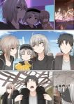 2boys 2girls amusement_park artoria_pendragon_(all) black_hair eating fate/grand_order fate_(series) father_and_son fujimaru_ritsuka_(male) ginhaha hat jeanne_d'arc_(alter)_(fate) jeanne_d'arc_(fate)_(all) mother_and_son multiple_boys multiple_girls ponytail saber_alter short_hair silver_hair smile yellow_eyes