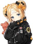 1girl abigail_williams_(fate/grand_order) bangs black_bow black_jacket blonde_hair blue_eyes bow closed_mouth commentary crossed_bandaids english_commentary eyebrows_visible_through_hair fate/grand_order fate_(series) hair_bow hair_bun head_tilt hitsukuya jacket long_hair long_sleeves looking_at_viewer object_hug orange_bow parted_bangs polka_dot polka_dot_bow simple_background sleeves_past_fingers sleeves_past_wrists solo stuffed_animal stuffed_toy teddy_bear white_background