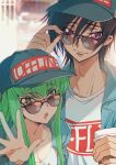 1boy 1girl :o baseball_cap black_hair blue_jacket breasts c.c. carrying cleavage closed_mouth clothes_writing code_geass creayus cup eyebrows_visible_through_hair green_hair hand_up hat holding holding_cup jacket lelouch_lamperouge long_hair looking_at_viewer medium_breasts princess_carry purple_eyes smile sunglasses waving yellow_eyes