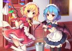 2girls :d absurdres alternate_costume apron ascot bangs bare_shoulders bat_wings blonde_hair blue_hair blue_ribbon blush bow bowtie brooch bucket commentary_request cowboy_shot crystal detached_sleeves door dress duster enmaided eyebrows_visible_through_hair flandre_scarlet frilled_apron frilled_shirt_collar frills garter_straps hair_between_eyes hair_ribbon highres holding holding_mop indoors jewelry leg_up looking_at_viewer maid maid_apron maid_headdress mop multiple_girls one_side_up open_mouth petticoat picture_frame puffy_short_sleeves puffy_sleeves red_dress red_eyes red_footwear red_neckwear red_ribbon remilia_scarlet ribbon ruhika shoes short_dress short_hair short_sleeves siblings sisters smile standing standing_on_one_leg thighhighs thighs touhou waist_apron water white_apron white_legwear wings wrist_cuffs yellow_bow yellow_neckwear zettai_ryouiki