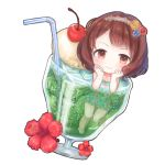 1girl :> air_bubble aqua_swimsuit bangs bendy_straw blue_flower blush brown_hair bubble cherry chibi closed_mouth collarbone dot_nose drinking_straw dutch_angle floral_print flower food frilled_swimsuit frills fruit glass hair_flower hair_ornament hairband hands_on_own_face hibiscus ice ice_cream ice_cube idolmaster idolmaster_cinderella_girls in_container knees_together_feet_apart komoe_(hinagatu) lace_hairband leg_up looking_at_viewer martini minigirl nagatomi_hasumi one-piece_swimsuit partially_submerged red_flower red_rose rose short_hair simple_background smile solo swept_bangs swimsuit tareme wavy_hair white_background yellow_eyes yellow_flower yellow_rose
