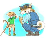 2015 anthro belt black_nose canine claws clothed clothing crying cub dog duo feline footwear fully_clothed fur legwear mammal multicolored_fur open_mouth pants police police_hat police_uniform shoes simple_background socks striped_fur striped_tail stripes tears teeth torte two_tone_fur uniform young