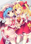 2girls :d absurdres bat_wings blonde_hair blue_hair blush bow commentary_request crystal dress dress_lift eyebrows_visible_through_hair fang feet_out_of_frame flandre_scarlet frilled_shirt_collar frills grey_background hat hat_bow hat_ribbon highres lifted_by_self looking_at_viewer mary_janes mob_cap multiple_girls neck_ribbon one_eye_closed open_mouth petticoat pink_dress pink_hat puffy_short_sleeves puffy_sleeves red_bow red_eyes red_footwear red_neckwear red_ribbon red_sash red_skirt red_vest remilia_scarlet ribbon ruhika shoes short_hair short_sleeves siblings sisters skirt smile standing standing_on_one_leg thighhighs touhou v vest white_hat white_legwear wings wrist_cuffs yellow_bow yellow_neckwear yellow_outline yellow_ribbon zettai_ryouiki