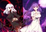 2girls albino ass bow breasts dark_persona dark_sakura dress dual_persona fate/stay_night fate_(series) fingernails hair_bow isy large_breasts long_fingernails looking_at_viewer matou_sakura multiple_girls open_mouth purple_eyes purple_hair red_eyes sharp_fingernails shiny shiny_hair short_hair smile white_hair