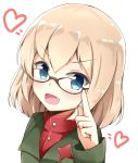 1girl :d adjusting_eyewear aikawa_ryou bangs bespectacled black-framed_eyewear blonde_hair blue_eyes blush commentary emblem eyebrows_visible_through_hair fang girls_und_panzer glasses green_jacket heart highres jacket katyusha long_sleeves looking_at_viewer open_mouth portrait pravda_school_uniform red_shirt school_uniform shirt short_hair simple_background smile solo turtleneck v-shaped_eyebrows white_background